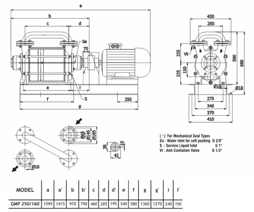 Габаритный чертеж насоса Ангара GMP 250/160