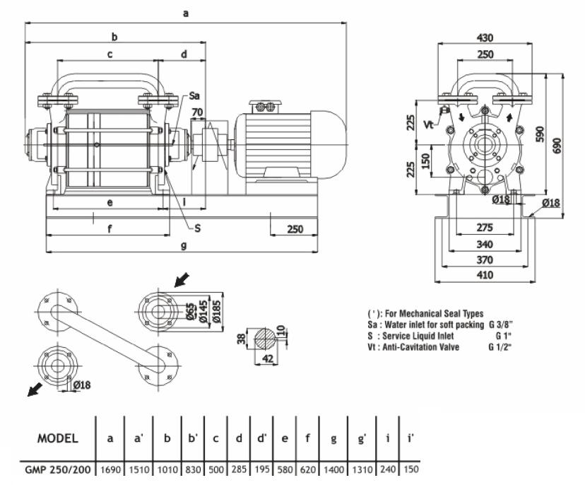 Габаритный чертеж насоса Ангара GMP 250/200