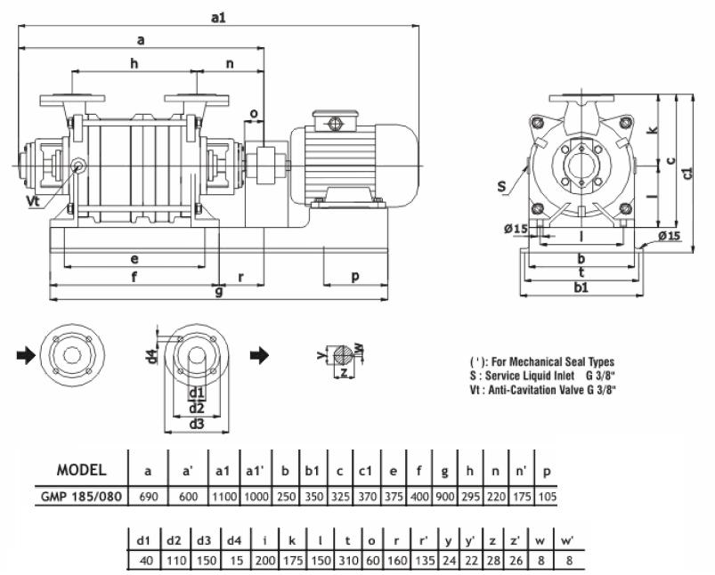 Габаритный чертеж насоса Ангара GMP 185/080