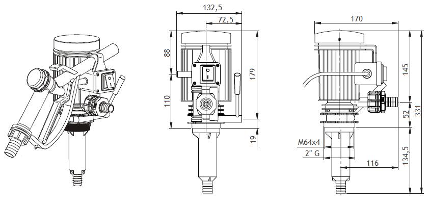 Габаритный чертеж насоса Piusi Pico 230 M