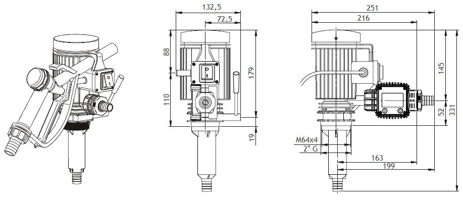 Габаритный чертеж насоса Piusi Pico 230 K24 M