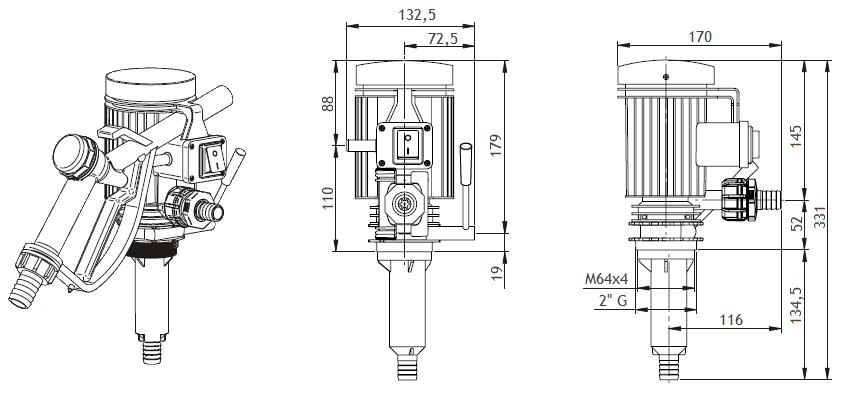 Габаритный чертеж насоса Piusi Pico 12 M