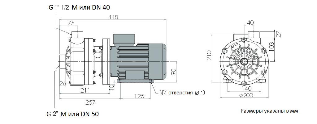 Габаритный чертеж насоса Debem MB 130