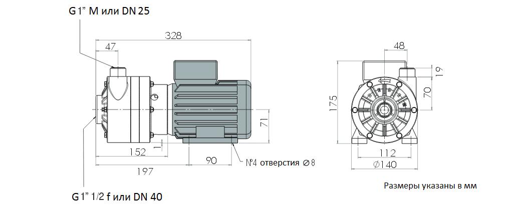 Габаритный чертеж насоса Debem MB 100