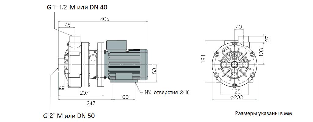 Габаритный чертеж насоса Debem MB 110