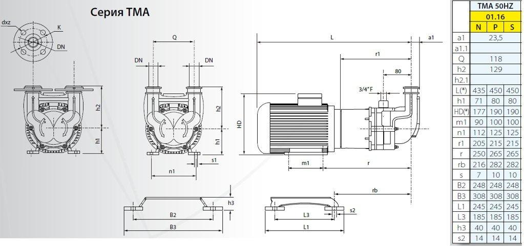 Габаритный чертеж насоса Argal TMA 01.16