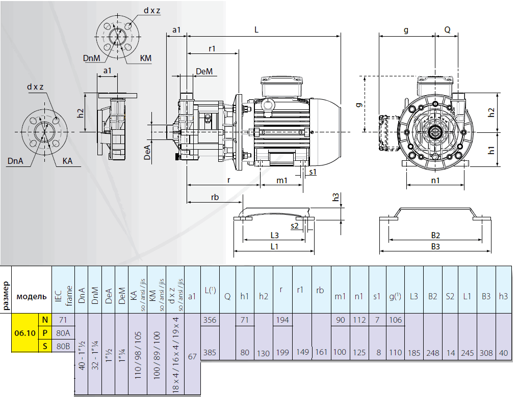 Габаритный чертеж насоса Argal TMR 06.10