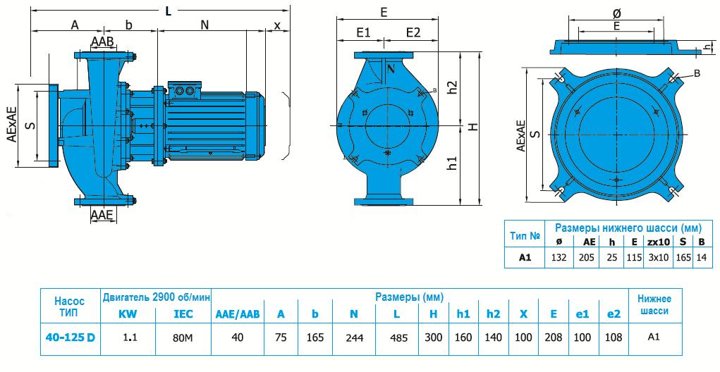 Габаритный чертеж насоса Norm SNLL 40-125 D