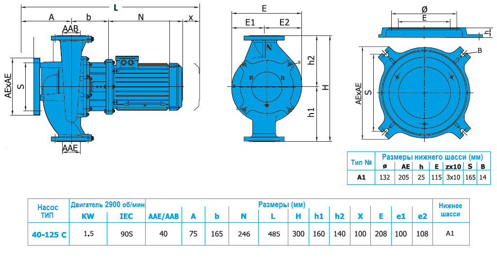 Габаритный чертеж насоса Norm SNLL 40-125 C