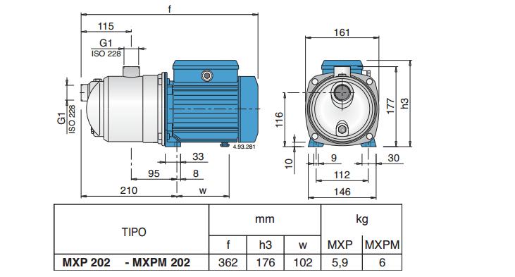 Габаритный чертеж насоса Calpeda MXPM 202