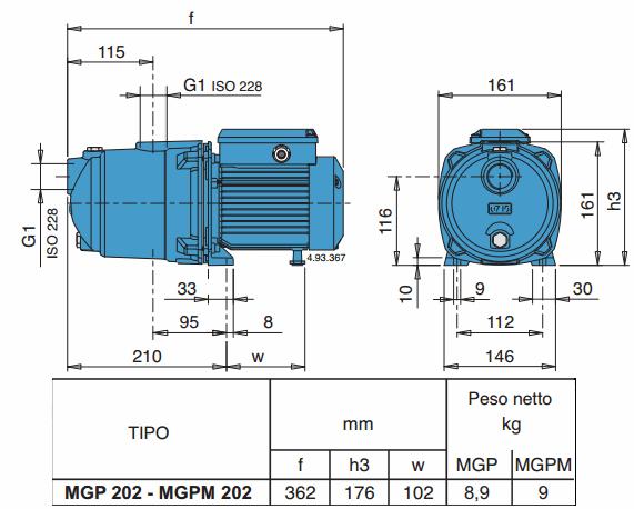 Габаритный чертеж насоса Calpeda MGPM 202