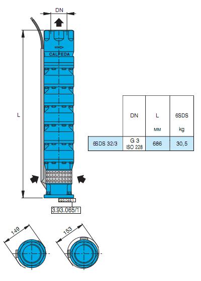 Габаритный чертеж насоса Calpeda 6SDS 32/3