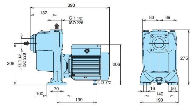 Габаритный чертеж насоса Calpeda AM 40-110B/A
