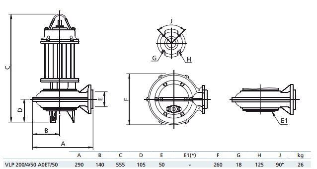 Габаритный чертеж насоса Zenit VLP 200/4/50