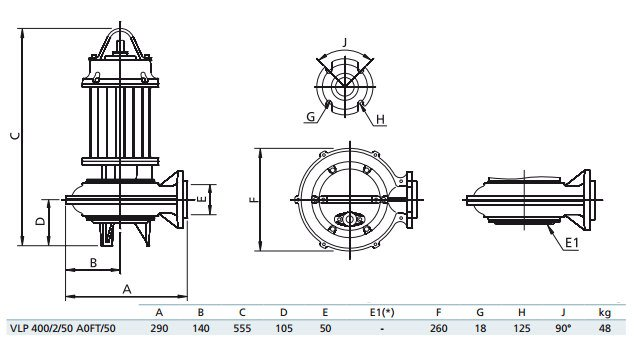 Габаритный чертеж насоса Zenit VLP 400/2/50