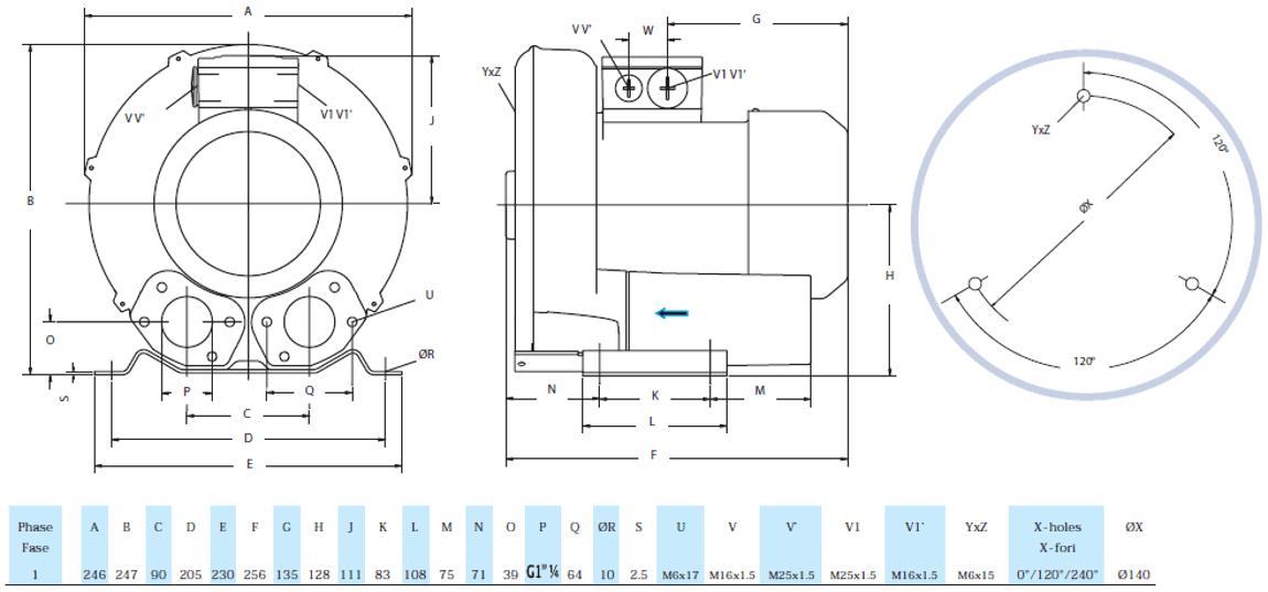 Габаритный чертеж воздуходувки GreenTech 2RB 210-M004