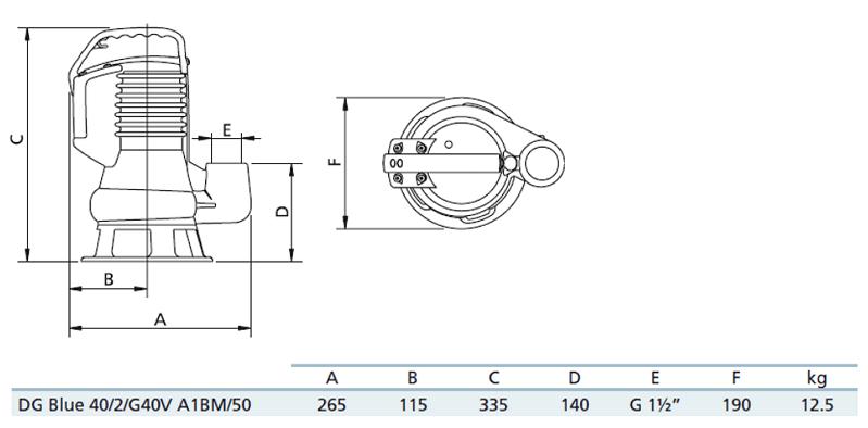 Габаритный чертеж насоса Zenit DG blue 40/2/G40V A1BM5