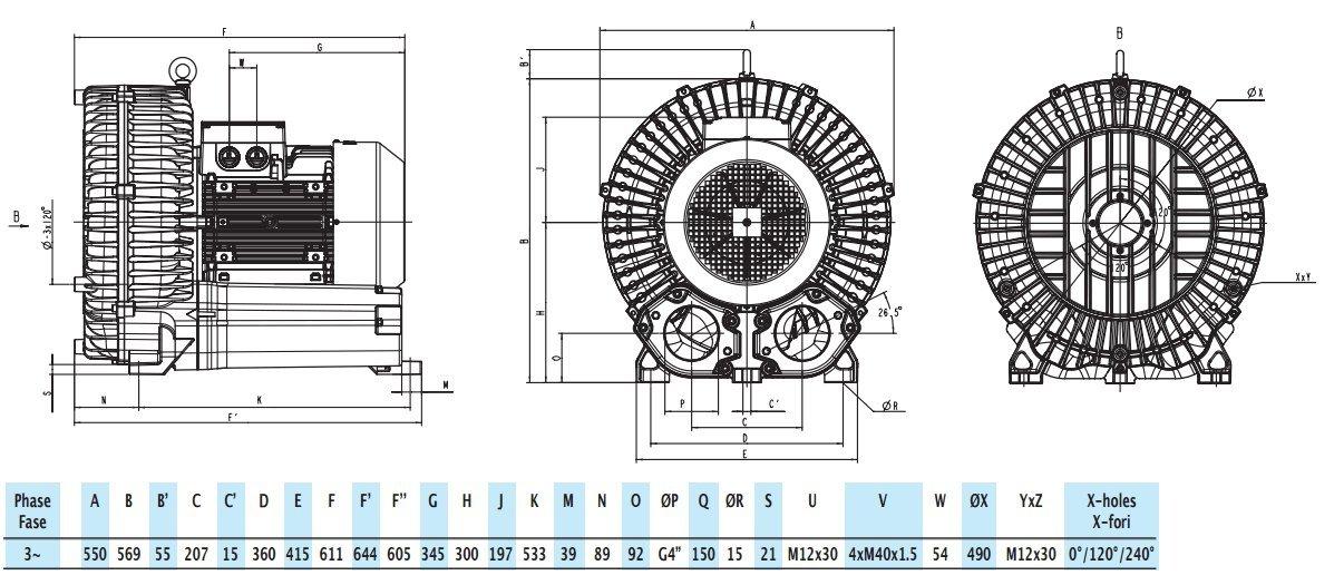 Габаритный чертеж воздуходувки GreenTech 2RB 910-125