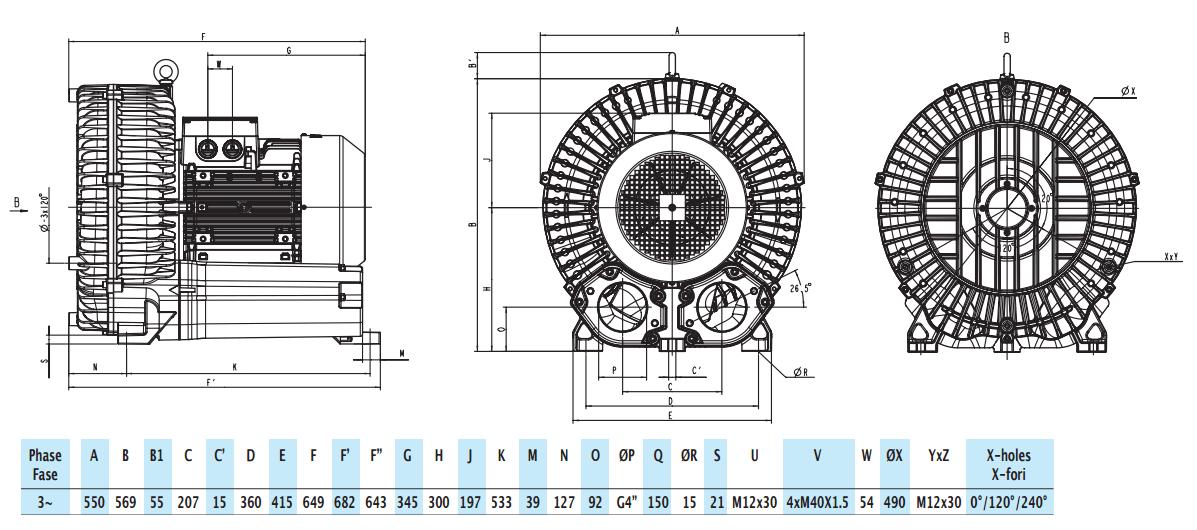 Габаритный чертеж воздуходувки GreenTech 2RB 930-185
