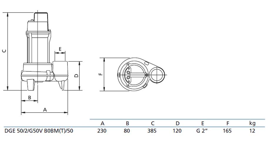 Габаритный чертеж насоса Zenit DGE 50/2/G50V B0BM5