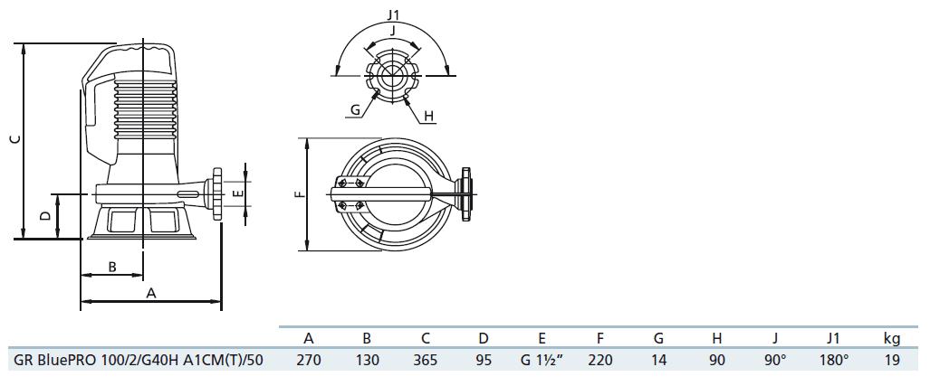Габаритный чертеж насоса Zenit GR bluePRO 100/2/G40H A1CM5