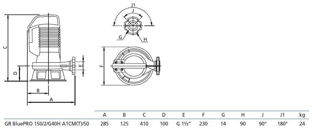 Габаритный чертеж насоса Zenit GR bluePRO 150/2/G40H A1CM5