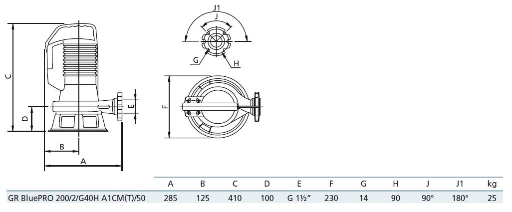 Габаритный чертеж насоса Zenit GR bluePRO 200/2/G40H A1CM5