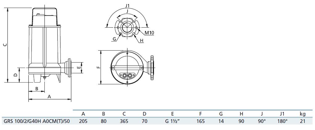 Габаритный чертеж насоса Zenit GRS 100/2/G40H A0CT5