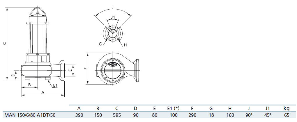 Габаритный чертеж насоса Zenit MAN 150/6/80 A1DT5