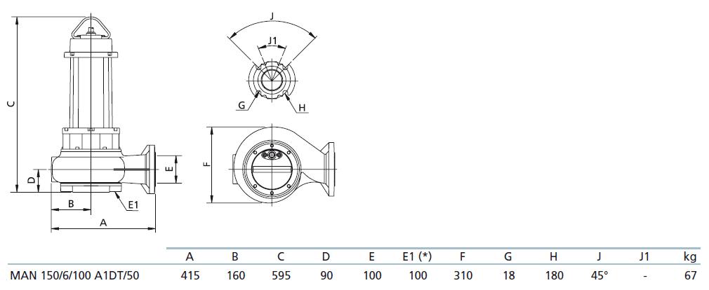 Габаритный чертеж насоса Zenit MAN 150/6/100 A1DT5