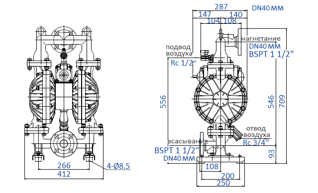 Габаритный чертеж насоса Yamada NDP-40BAH-RC
