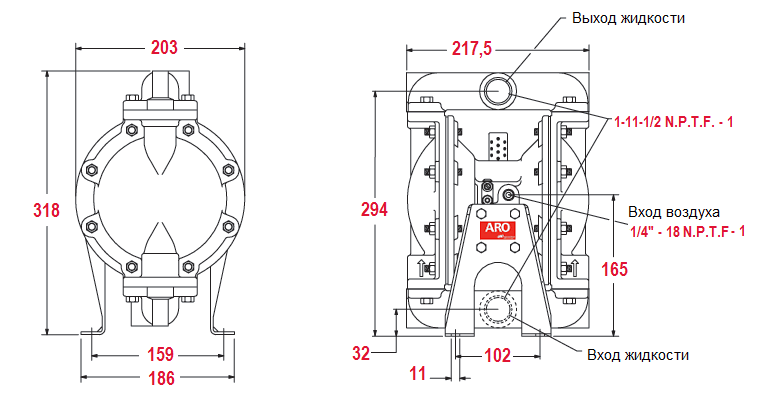 Габаритный чертеж насоса ARO Pro 666100-344-C