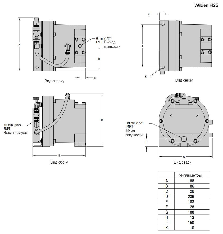 Габаритный чертеж насоса Wilden H25/1600S/AAA/PU/SS/SBN/150