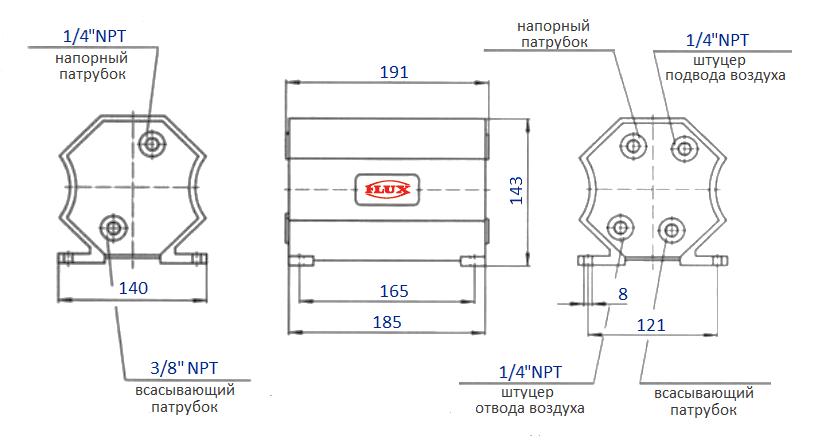 Габаритный чертеж насоса Flux FDM 06
