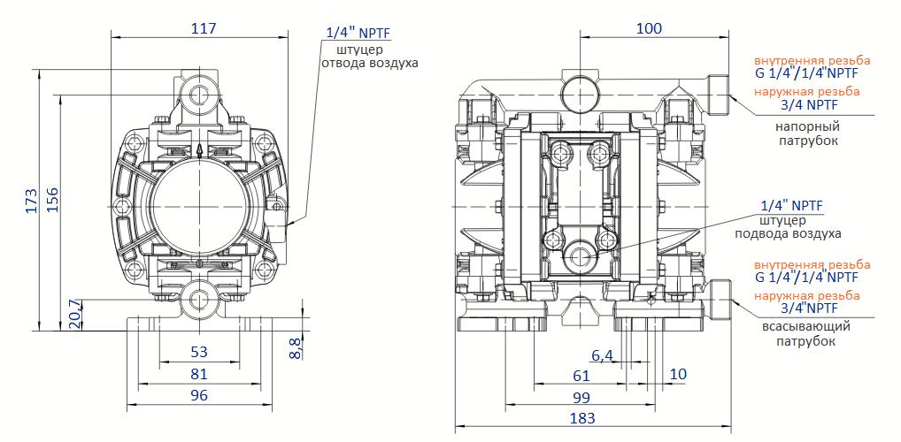 Габаритный чертеж насоса Flux FDM 07