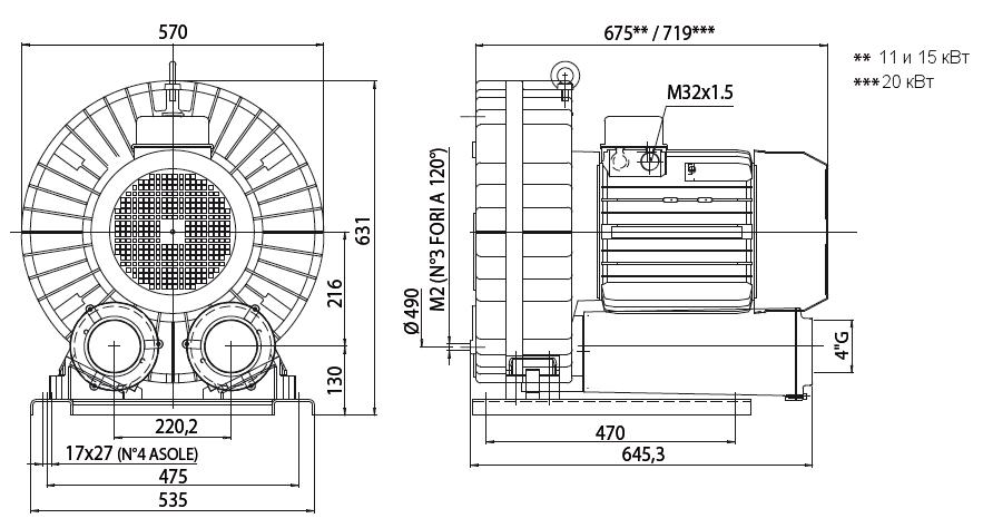 Габаритный чертеж воздуходувки Esam UNIJET 1000