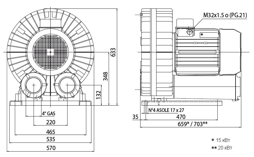 Габаритный чертеж воздуходувки Esam UNIJET 1500