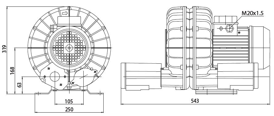 Габаритный чертеж воздуходувки Esam TECNOJET 2V LHT