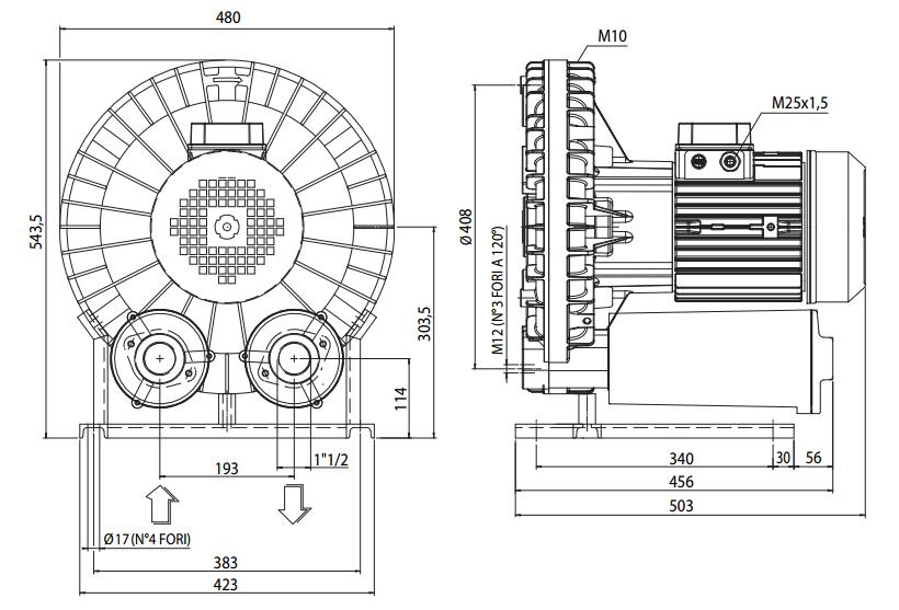 Габаритный чертеж воздуходувки Esam UNIJET 160