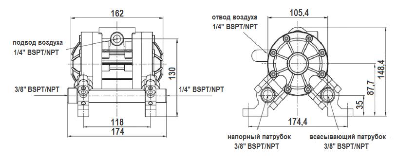 Габаритный чертеж насоса Jofee MK06PP-PP/ST/PP/PP