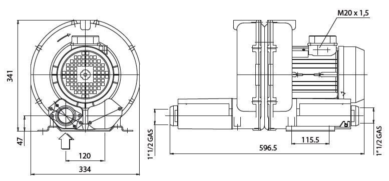 Габаритный чертеж воздуходувки Esam FLUXJET 2V LHT