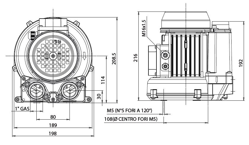 Габаритный чертеж воздуходувки Esam UNIJET 40_220