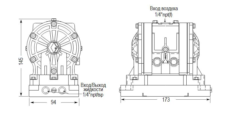 Габаритный чертеж насоса Graco HUSKY 205-PP-NULL-PP-SP
