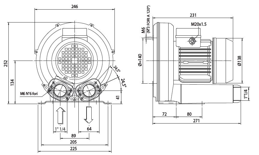 Габаритный чертеж воздуходувки Esam UNIJET 75 (380В)