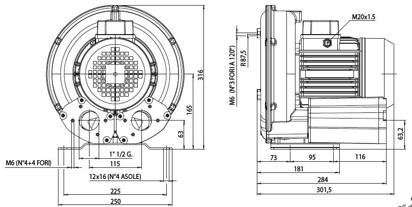 Габаритный чертеж воздуходувки Esam TECNOJET II/s_0,75