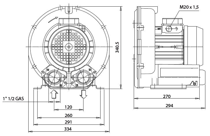 Габаритный чертеж воздуходувки Esam FLUXJET