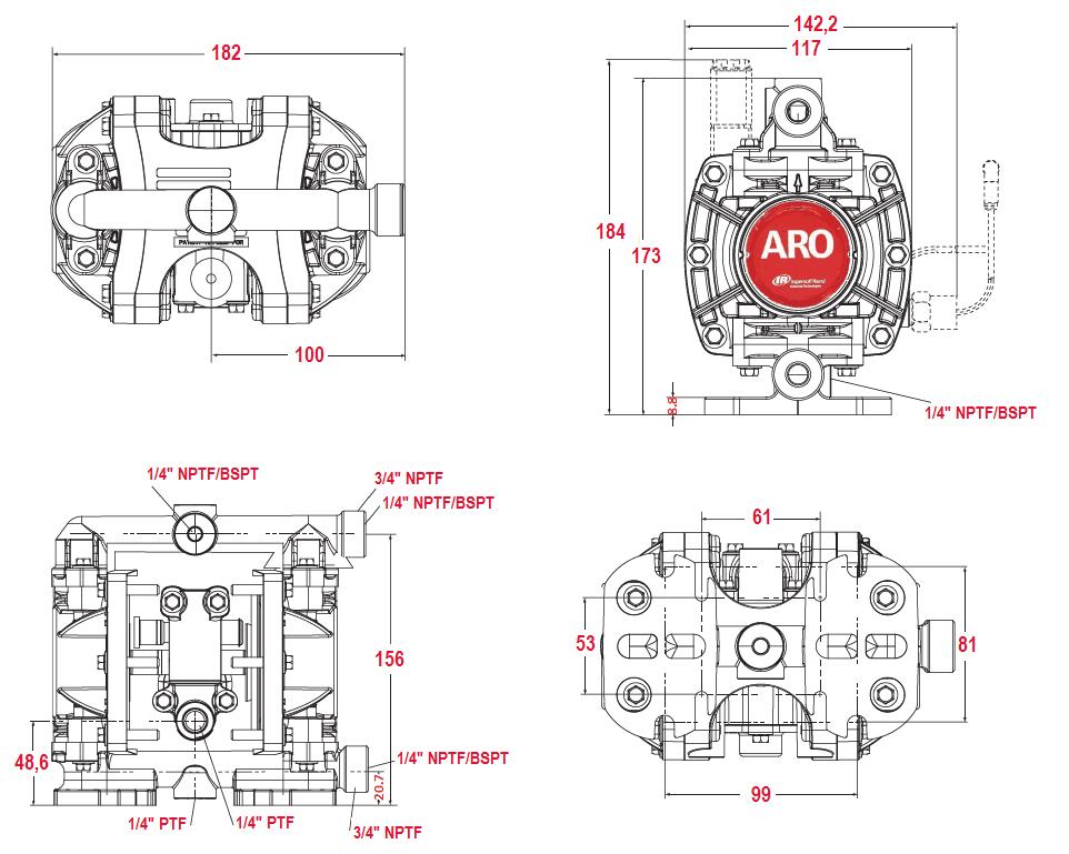 Габаритный чертеж насоса ARO PD01P-HPS-PTT-A