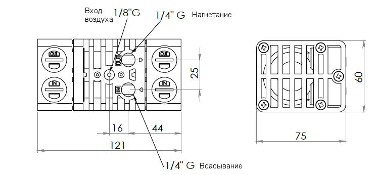 Габаритный чертеж насоса Debem MIDGETBOX-P