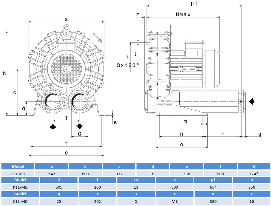 Габаритный чертеж воздуходувки SCL K11-MD
