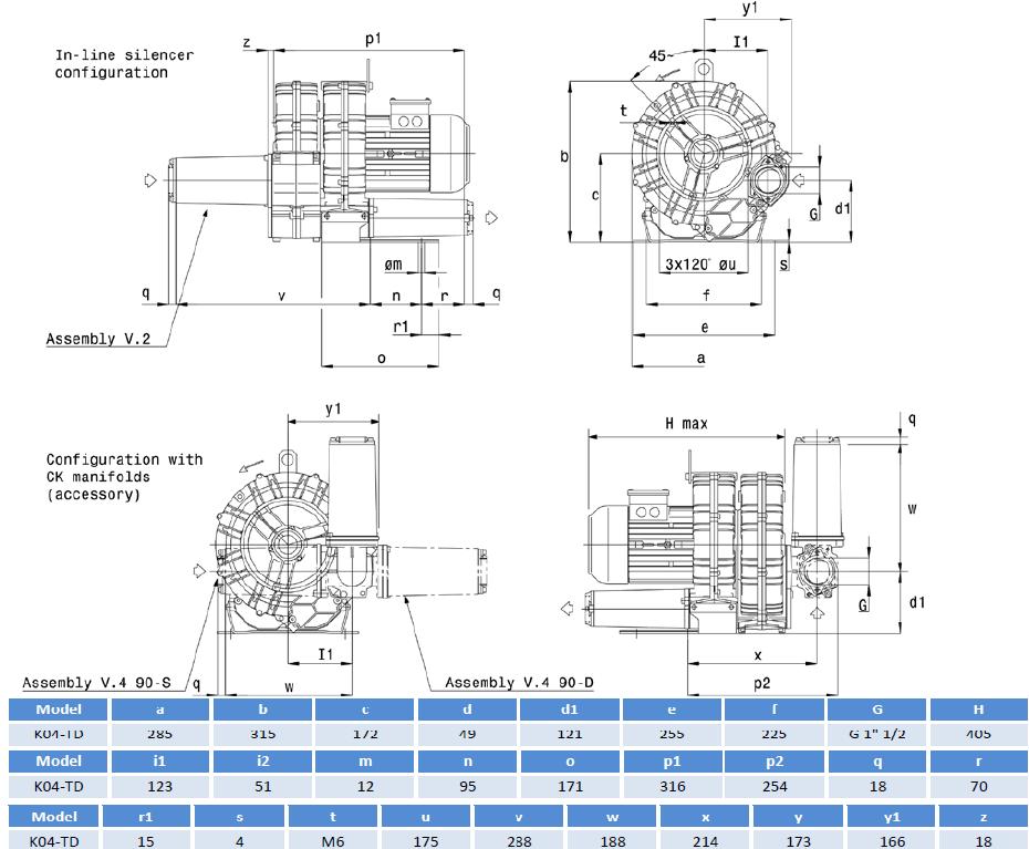 Габаритный чертеж воздуходувки SCL K04-TD